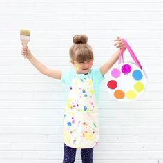 How to make a little artist costume. Plus a tutorial for a palette shaped trick or treat basket.