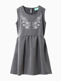 Gray Embroidered Floral High Waist Dress