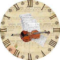RELOJ VINTAGE Clock Craft, Diy Clock, Clock Decor, Decoupage Vintage, Vintage Art, Blank Clock Faces, Clock Printable, Music Clock, Paper Clock
