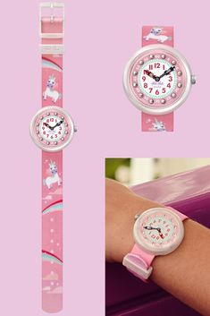 Who said unicorns weren't real? Certainly not us! This unicorn wrist watch encourages children to learn to tell the time with the help of these mythical creatures and the gift of imagination. MAGICAL DREAM (ZFBNP121) kids watch in pink features gemstones on its digital printed dial, alongside a solid mother-of-pearl plastic case. Telling Time, Mythical Creatures, Plastic Case, Unicorns, Michael Kors Watch, Rolex Watches, Imagination, The Help, Bracelet Watch