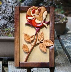 Hardwood Intarsia Rose Wall Art by SierraWoodSculptures on Etsy Intarsia Woodworking, Woodworking Projects Diy, Transfer Images To Wood, Wood Crafts, Diy And Crafts, Intarsia Wood Patterns, Wood For Sale, Wood Images, Wood Mosaic