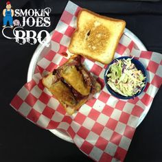 It's National Sandwich Month!!! Come on into Smokin' Joes and enjoy one of our delicious sandwiches, like our name sake the Smokin' Joe! Pulled pork, topped with wild boar sausage, fried pickles and bbq sauce on Texas toast!! #nationalsandwichmonth #pulledpork #wildboarsausage #friedpickles #texastoast