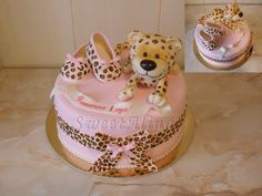 1st birthday Cake. That leopard is adorable. I mean ADORABLE!!!