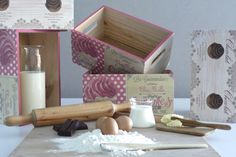 Cajas de madera maciza decoradas con decoupage. Motivos repostería. Wooden box decoupage. www.elpiojito.es