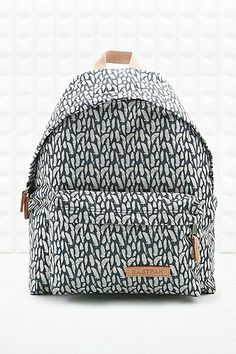 Eastpak Pak'R Feather Print Padded Backpack in Grey - Urban Outfitters