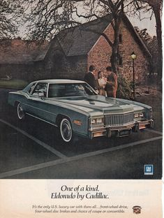 1976 Cadillac Eldorado Luxurious 2 Door Hardtop Stone Home Unique Journal Advert General Motors, Retro Cars, Vintage Cars, Warren Michigan, Convertible, Ford Company, Chevrolet Trucks, 1957 Chevrolet, Chevrolet Impala