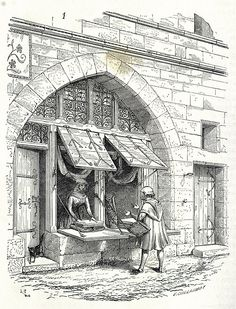 shop in Oldtown oldbookillustrations: A typical shop in Paris between the XIIth and the XIVth century. From Dictionnaire raisonné de l'architecture française du XIe au XVIe siècle (Reasoned dictionary of French architecture from the XIth to the XVIth c Architecture Jobs, French Architecture, Architecture Drawings, Historical Architecture, Ancient Architecture, Architecture Details, Medieval Houses, Medieval Life, Medieval Art