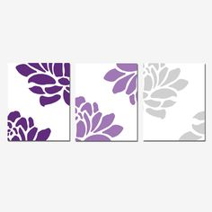 Floral Trio - Set of Three Coordinating 8 x 10 Prints - Dark Purple, Lilac, and Gray - Perfect Modern Nursery Decor