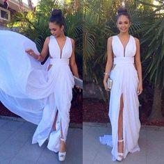 P44 sexy v neck prom dresses, side slit, white chiffon prom dress, bridesmaid…