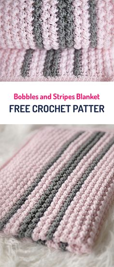 Bobbles and Stripes Blanket Free Crochet Pattern #crochet #yarn #balnket #home #homedecor #crafts