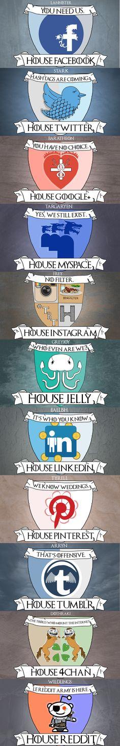 Si las Redes Sociales fueran las casas de Juego de Tronos #infografia #infographic #humor