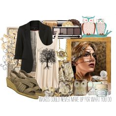 """Fall 2011"" created by #colette, #polyvore #fashion #style H&M See by Chloe #Skechers Free People Urban Decay #Balenciaga Benefit Cosmetics #Chanel #blazer #brown #sandals #owls #tanks #tan"