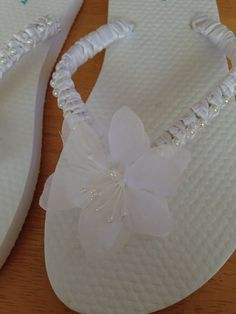 White ribbon knotted flip flops with by MarstonArtsandCrafts