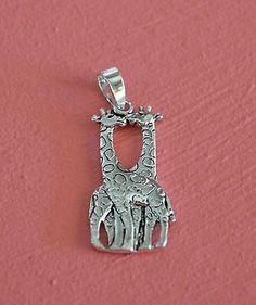 925 Sterling Silver Kissing Giraffe Pendant- Kissing Giraffe Animal Pendant