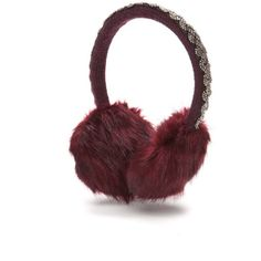 New Directions Blackberry Braided Beaded Faux Fur Earmuffs (€13) ❤ liked on Polyvore featuring accessories, blackberry and faux fur earmuffs