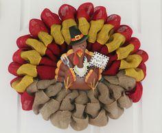 DIY Burlap Turkey Thanksgiving Wreath - The Wreath Depot