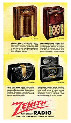 Four wonderful mid-40s Zenith radio models. #vintage #1940s #radios