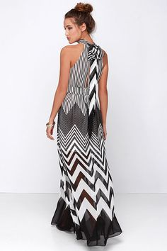 Blurred Lines Black and Ivory Striped Maxi Dress at Lulus.com!