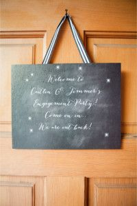 Chalkboard engagement sign | Connie Dai Photography | http://burnettsboards.com/2014/01/style-backyard-engagement-party/