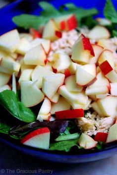 Clean Eating Chicken Apple Salad Ingredients 1 chicken breast, baked with herb of your choice 2 cups lettuce 1 small apple 2 tbsp. vinigarette Directions Step 1 – Dice or shred your chicken breast. Step 2 – Dice your app Healthy Snacks, Healthy Eating, Healthy Recipes, Detox Recipes, Free Recipes, Clean Eating Recipes, Cooking Recipes, Clean Eating Salads, Cooking Tips