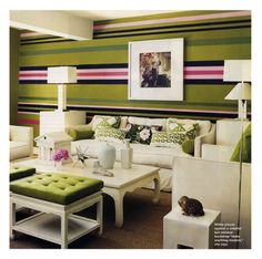 pink and green striped wall