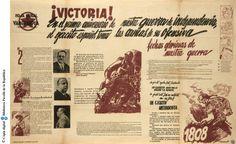¡Victoria! en el primer aniversario de nuestra guerra de independencia, el ejercito español toma las armas de su ofensiva : hoja mural de Vanguardia : extraordinario del 18 de julio :: Cartells del Pavelló de la República (Universitat de Barcelona)