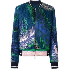 Emilio Pucci palm print bomber jacket (97.615 RUB) ❤ liked on Polyvore featuring outerwear, jackets, blue, flight jacket, emilio pucci jacket, emilio pucci, palm tree jacket and blue bomber jacket
