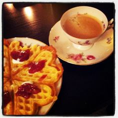 Norwegian waffle with sour cream and strawberry jam Norwegian Waffles, Strawberry Jam, Sour Cream, Homemade, Cooking, Breakfast, Food, Kitchen, Morning Coffee