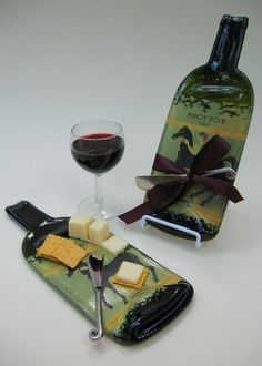Melted wine bottle cheese trays! Love it! I have several of these; they are as pratical as they are uniquely beautiful!