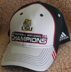 LSU TIGERS 2007 FOOTBALL CHAMPIONS EMBROIDERED ADJUSTABLE  CAP BY ADIDAS NWT #adidas #LSU