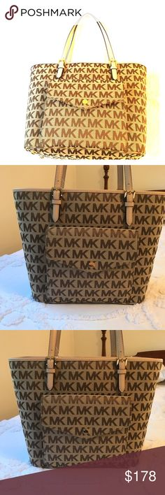 Michal Kors Jet Set Item Multi-function Tote MICHAEL Michael Kors Authentic Jet Set Item Large Pocket Beige/Ebony/Buff Multi-function Tote handbag. Features: open with top center zip compartment, jacquard signature and leather, gold-tone hardware, double drop handles, front flap snap pocket with 6 credit card slots, center zip padded compartment, inside zip pocket, cell phone & 3 multifunctional pockets, signature lining, protective feet on bottom, and included care card. Approx meas: H…