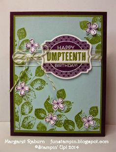Fun Stampin' with Margaret! Oh My Goodies, Kinda Eclectic; CCMC316, Blackberry Bliss, Old Olive, Soft Sky color challenge.