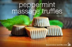 Peppermint Massage Truffles Help ease those aches and pains with these easy to make massage truffles that will totally rejuvenate the receiver! Why not make them a mix of bath bombs and these as an at home spa kit!