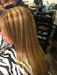 Slices of highlights and low lights 7 base and honey blonde highlights