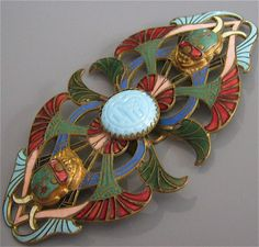 Egyptian Revival Enamel Scarab Art Deco Vintage Belt Buckle