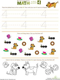 all numbers worksheet | Preschool Math: All About the Number 4 | Worksheet | Education.com
