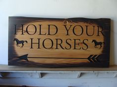 Rustic carved and burned wood horse sign