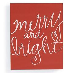 Christmas Canvases are beautifully scripted holiday affirmations transformed into works of art. It's impossible not to believe or be merry and bright when you encounter them hanging on a wall, propped on a mantle, or resting on an easel. Each is gallery-quality canvas stretched over engineered wood that resists cracking and warping.  Canvas artwork depicting hand-scripted holiday messages on a red background  High definition giclee printing on canvas captures every painterly nuance…
