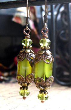 Green Lanterns, Picasso Czech Window Pane Beads, Czech Glass, Antique Brass. $12.50, via Etsy.