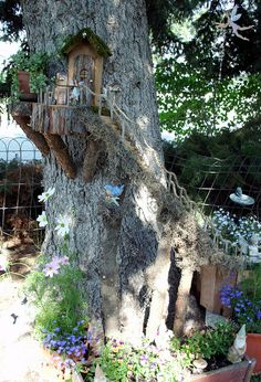 This link goes to only pictures but you get the idea. This would be so much fun to create and look great in my backyard! :) OP writes: My Fairy Garden that my Hubby & I Built July :) Mini Fairy Garden, Fairy Garden Houses, Gnome Garden, Dream Garden, Garden Art, Fairy Gardens, Miniature Gardens, Garden Design, Fairy Tree Houses