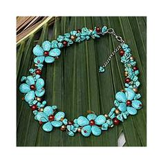 Pearl and Agate 'Maritime Fantasy' Flower Necklace (Thailand) | Overstock.com Shopping - Great Deals on Novica Necklaces