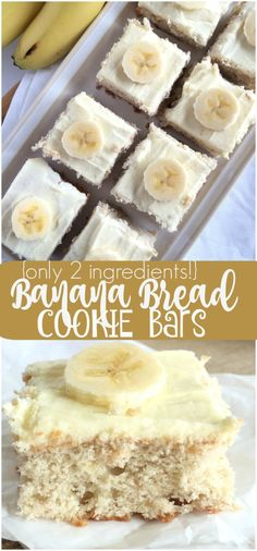 {Only 2 Ingredients!!} BANANA BREAD COOKIE BARS | www.togetherasfamily.com