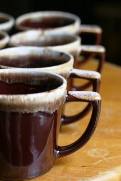 McCoy brown drip glaze mugs vintage pottery by WaterBetweenStones, $18.43
