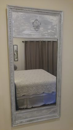 This mirror was originally gold leafed. I painted it silver, white washed and added the medallion. Chabby Chic, Shabby Chic Style, Oversized Mirror, Antiqued Mirror, Antiques, Linens, Painting, Decorating, Furniture