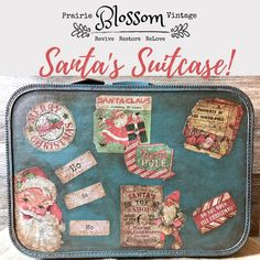 Altered, one of a kind vintage suitcase - hold fun, holiday treasures!  Available now - $62 (FREE U.S. Domestic Shipping) Vintage Suitcases, Vintage Luggage, Plywood Furniture, Modern Furniture, Furniture Design, Maker Shop, Vintage Market, Oil Lamps, Danish Design