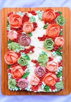Red Velvet Sheet Cake with Cream Cheese Frosting and Buttercream Flowers – peaches 2 peaches Cake With Cream Cheese, Cream Cheese Frosting, 29th Birthday Cakes, Frosting Flowers, Peach Cake, Cake Recipes From Scratch, Rum Cake, Cake Tasting, Instant Pudding