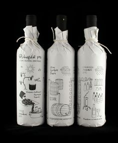 Filirea gi - Packaging design for limited production homemade wine. The illustration depicts the process of creating wine from the harvest to the bottling. Printed with silk-screen printing method on paper that is wrapped around the bottle to convey the sense of handmade.