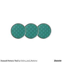 Damask Pattern: Teal Golf Ball Marker Golf Accessories, Golf Ball, Damask, Markers, Teal, Pattern, Sharpies, Damascus, Patterns