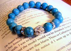 Turquoise Stone and Rhinestone Bracelet by SoulfulLeeYours on Etsy, $10.00