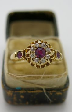 Stunning Antique Victorian Hallmarked Gold Ruby Diamond Ring from georgian-gold on Ruby Lane Victorian Gold, Victorian Jewelry, Victorian Fashion, Antique Jewelry, Ruby Diamond Rings, Gibson Girl, Ancient Jewelry, Vintage Dishes, Jewellery Designs